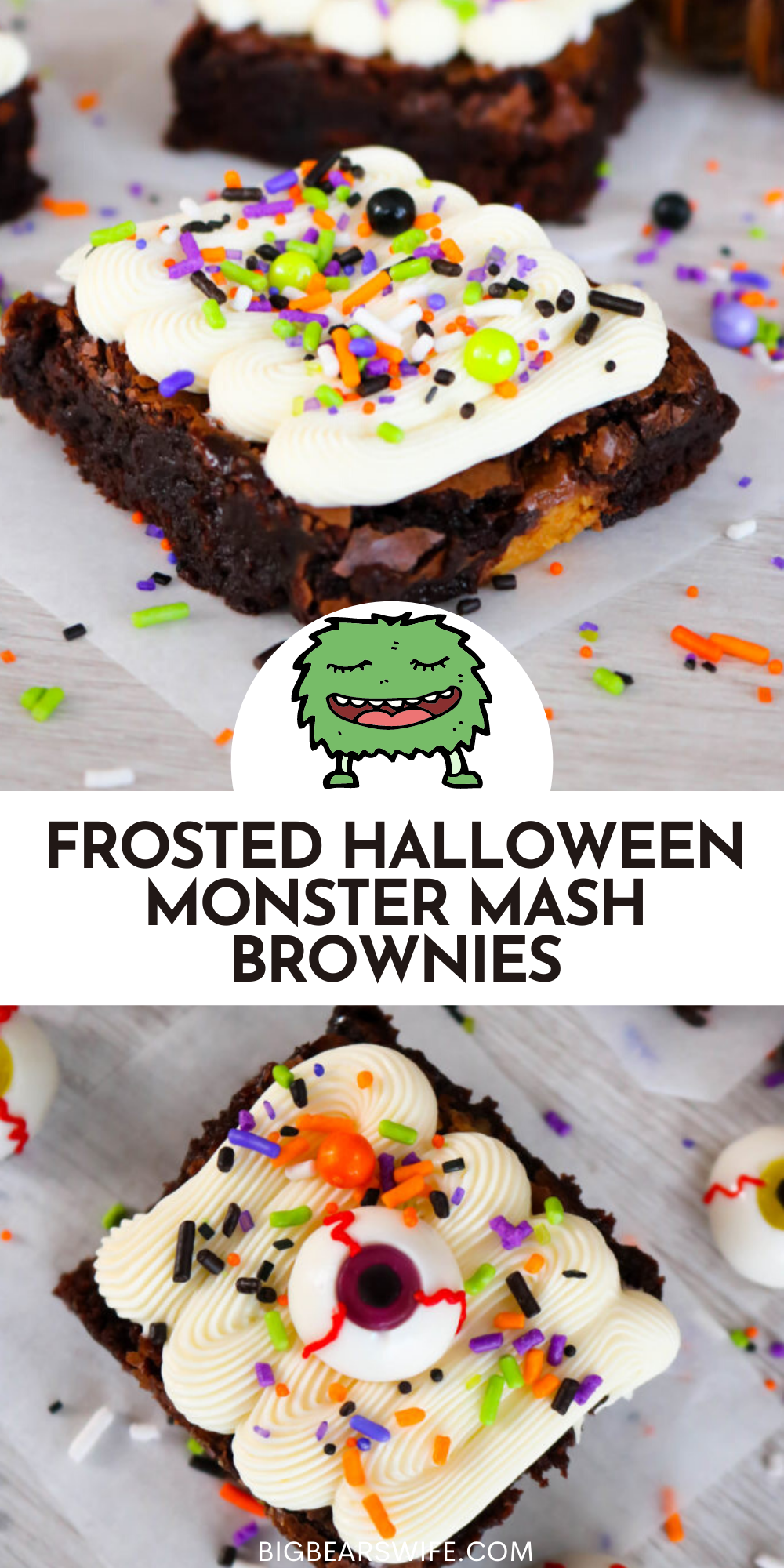 Peanut Butter stuffed brownies are celebrating Halloween with Monster Mash makeover! These Frosted Halloween Monster Mash Brownies have the perfect Halloween sprinkles on top of the easy homemade frosting and creepy gummy eyeballs.  via @bigbearswife