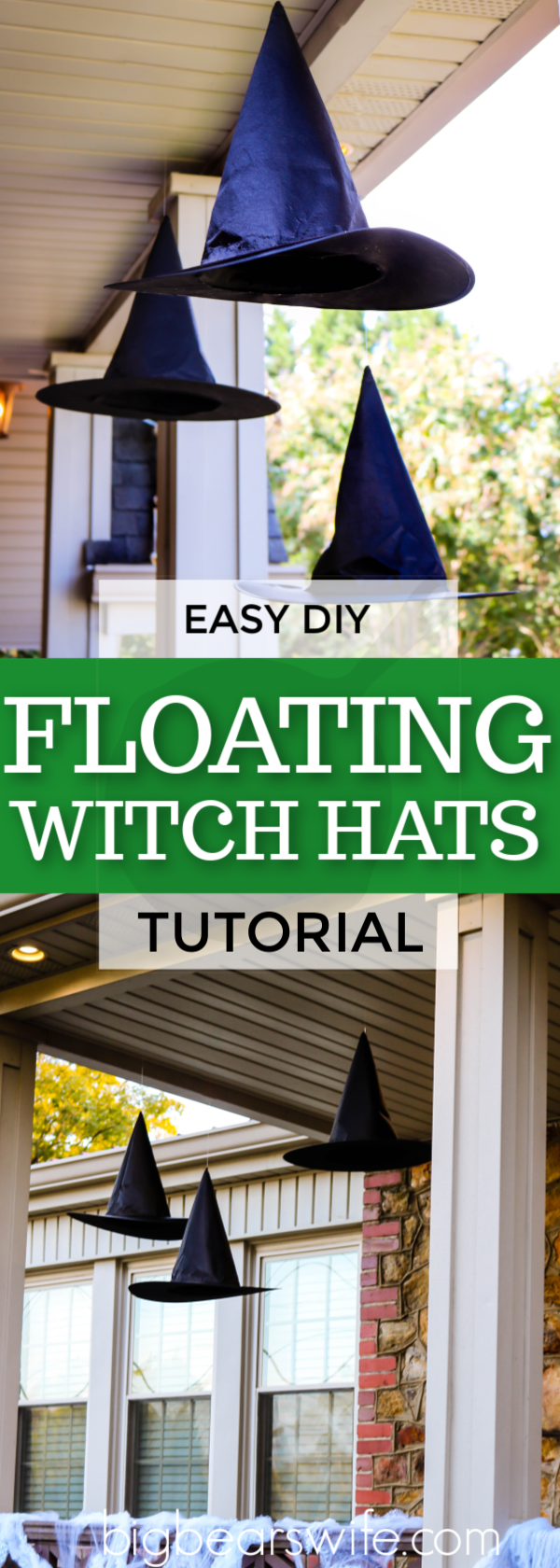 The Witches are IN and their hats are floating around outside! This easy and cheap DIY Halloween craft adds the perfect amount of magic to yourHalloween decorations! I am in love with theseEasy DIY Floating Witch Hats! #HALLOWEENDIY #HalloweenDecorations #CHEAPDIYDECOR