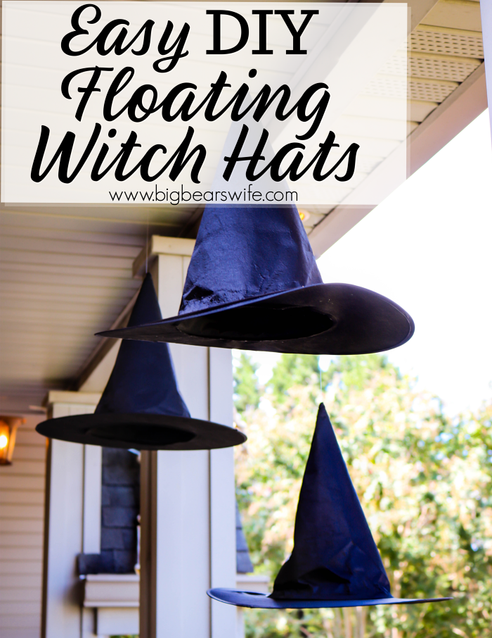 Floating Witch Hats - The Witches are IN and their hats are floating around outside! This easy and cheap DIY Halloween craft adds the perfect amount of magic to your Halloween decorations! I am in love with these Easy DIY Floating Witch Hats!