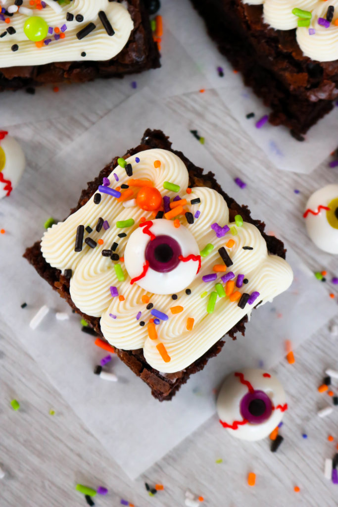 Frosted Halloween Monster Mash Brownies