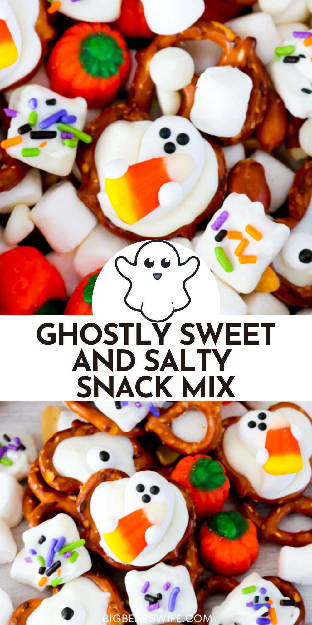 Treat your friends and family with this spooktacular Ghostly Sweet and Salty Snack Mix at your next Halloween Party! Leave the recipe as is or change it up to add whatever you like!