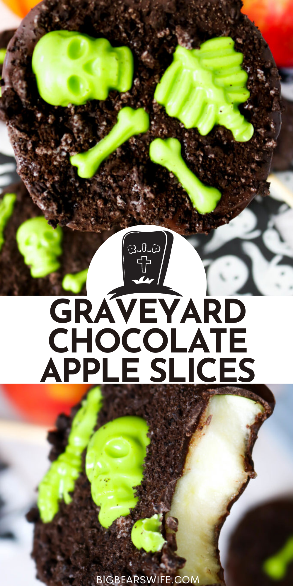 Melted chocolate and candy skeletons decorate fresh apple slices for a tasty Halloween treats that kids and adults will love!  You'll love how easy these Graveyard Chocolate Apple Slices are to make and decorate too!