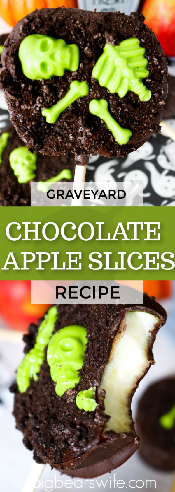 Melted chocolate and candy skeletons decorate fresh apple slices for a tasty Halloween treats that kids and adults will love!  You'll love how easy these Graveyard Chocolate Apple Slices are to make and decorate too!  #halloweendesserts #graveyarddesserts