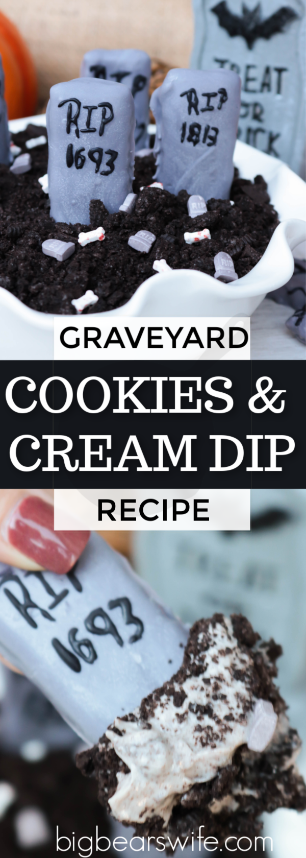 Graveyard Cookies and Cream Dip - Cookies and cream whipped together in this Graveyard Cookies and Cream Dip will be a drop-dead delicious treat for all of the ghost and ghouls at your house this Halloween! via @bigbearswife