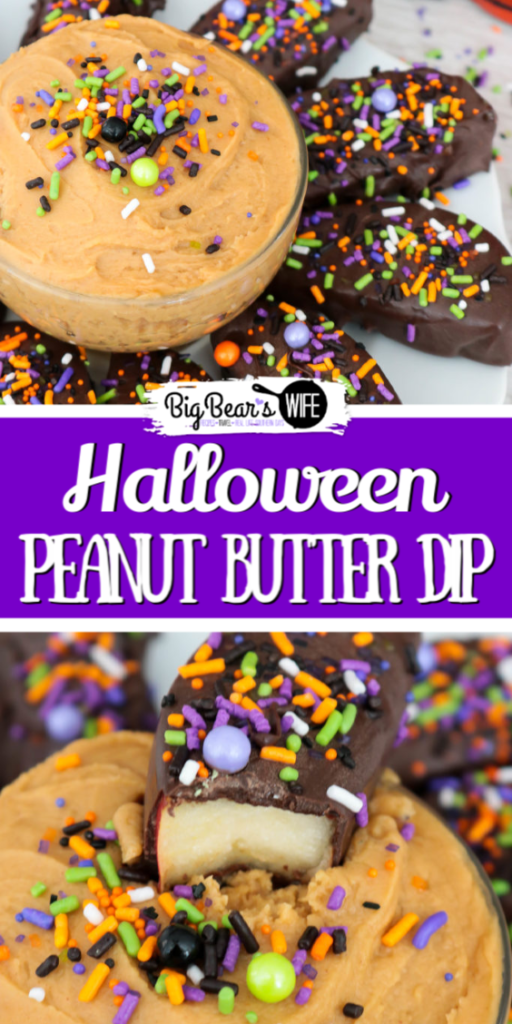 Halloween Apple Slices and Peanut Butter Dip - Need an easy Halloween dessert? You need these Halloween Apple Slices and Peanut Butter Dip! These chocolate dipped apples are dressed up with some fun Monster Mash sprinkles and join the party with a tasty peanut butter dip!