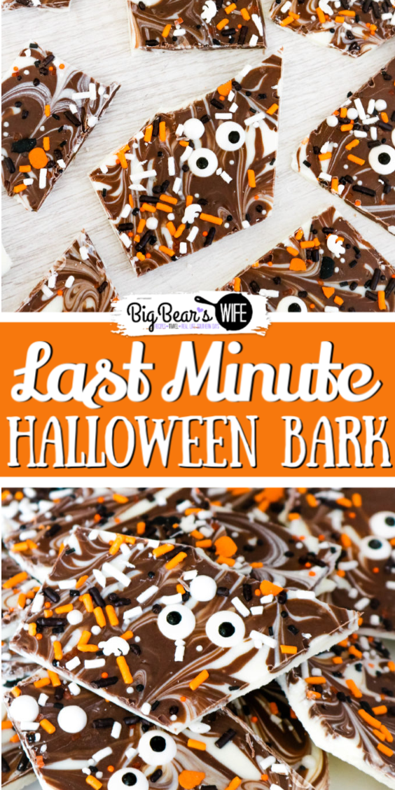Chocolate and Sprinkles swirl together to make this simple Last Minute Halloween Bark! Great for friends, family, and co-workers! It's easy to make and done in minutes!