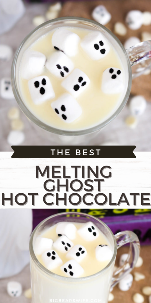 Melting Ghost Hot Chocolate ( Homemade White Hot Chocolate) #HalloweenTreatsWeek - Creamy and rich homemade white hot chocolate gets a Halloween twist with little marshmallow ghost with this spooky Melting Ghost Hot Chocolate! #WhiteHotChocolate #HalloweenHotChocolate