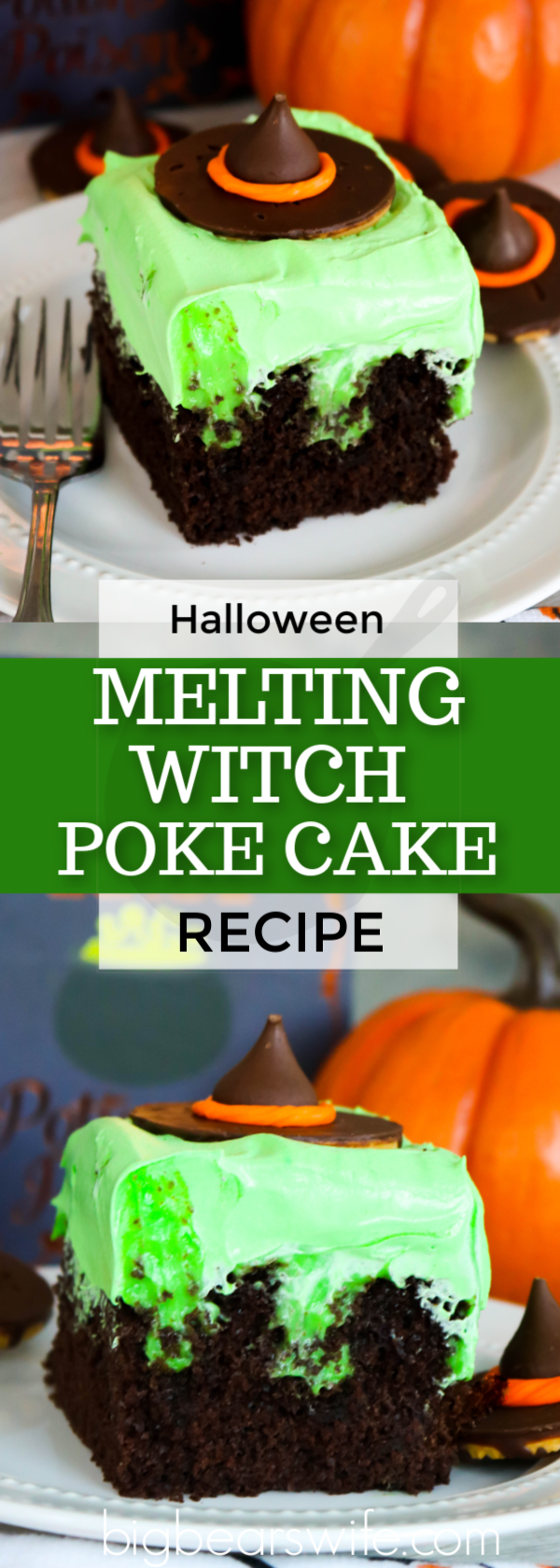 A classic southern dessert is turned into a wickedly wonderful Halloween treat with this easy Melting Witch Poke Cake! #MeltingWitch #PokeCake #Halloween via @bigbearswife