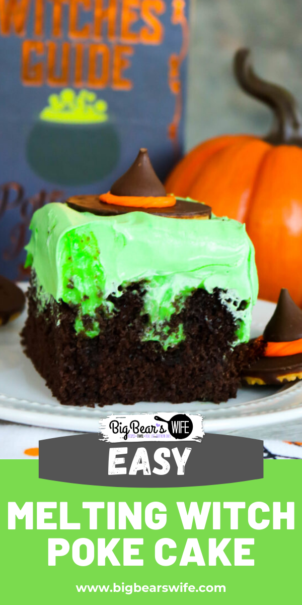 Melting Witch Poke Cake - A classic southern dessert is turned into a wickedly wonderful Halloween treat with this easy Melting Witch Poke Cake!  via @bigbearswife