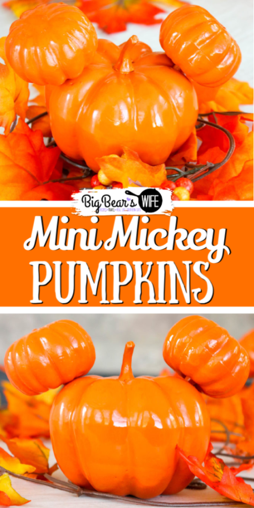 Mini Mickey Pumpkins - I made these cute Mini Mickey Pumpkins for my son's 1st birthday party! They're great for a Mickey Pumpkin party or a Disney lover's Halloween!