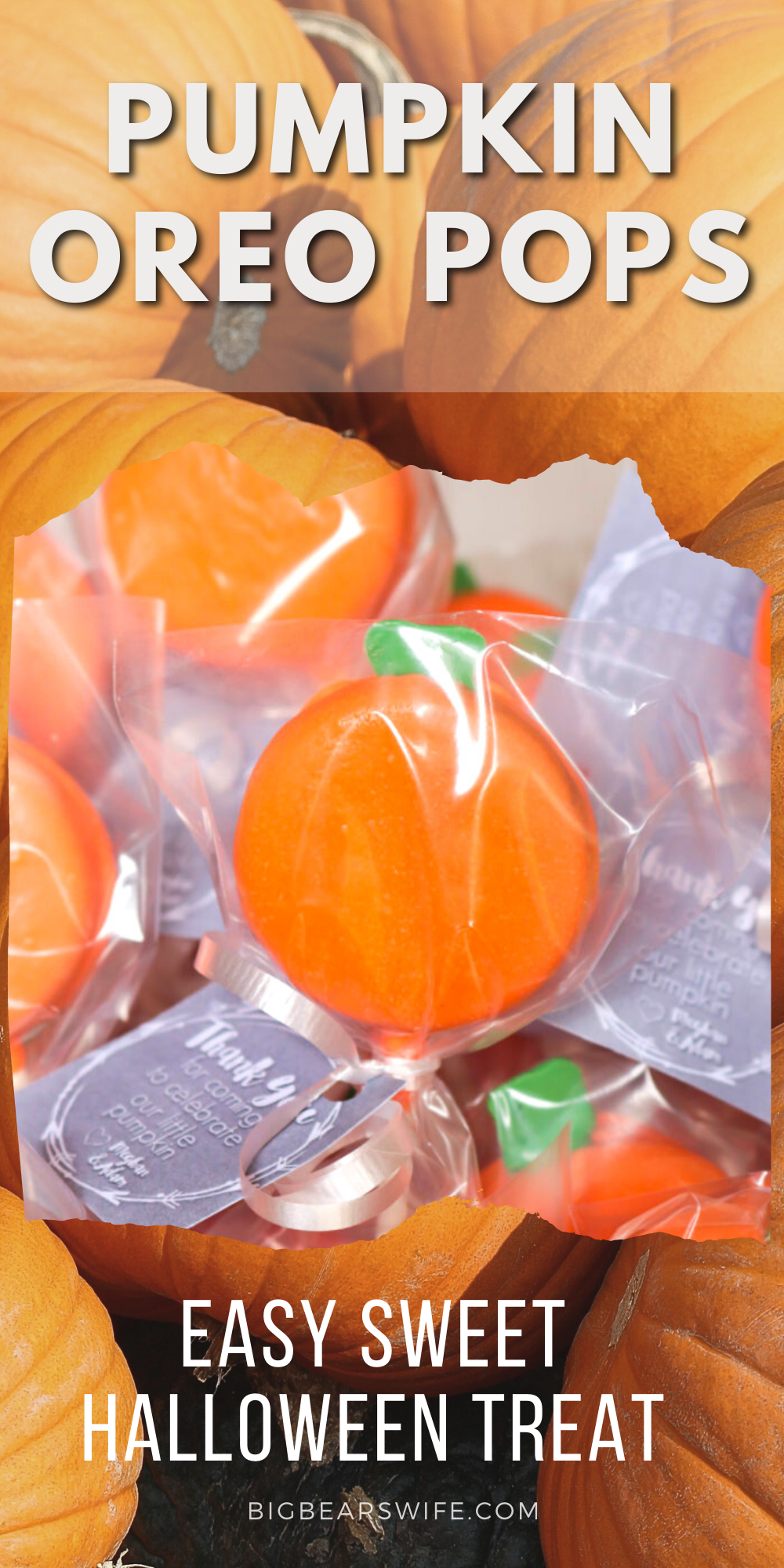 These littlePumpkin Oreo Pops are perfect for a Halloween party, Fall festival or as a pumpkin baby shower favor! via @bigbearswife