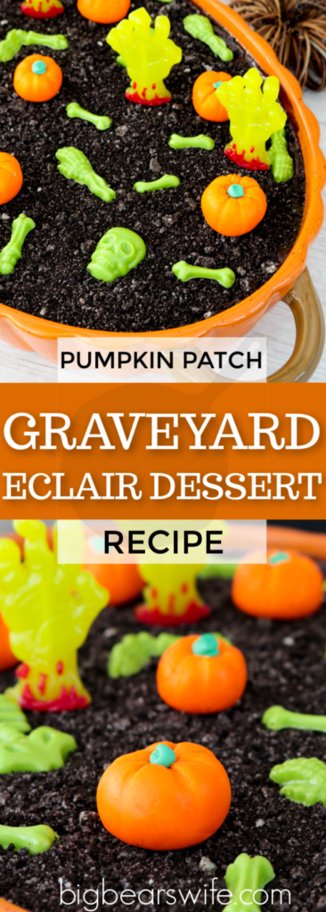 This delicious eclair dessert has a gotten a spooky twist with chocolate candy skeletons, zombie gummy hands, and homemade marshmallow pumpkins. A Pumpkin Patch Graveyard Eclair Dessert is perfect for Halloween!