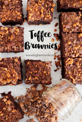 Toffee Brownies - Tasty toffee and fudge marry together in the perfect dessert combination with these delicious Toffee Brownies!