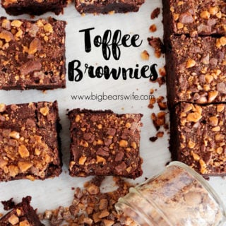 Toffee Brownies - Tasty toffee and fudge marry together in the perfect dessert combination with these deliciousToffee Brownies!