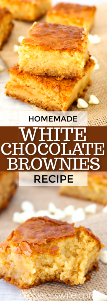 White Chocolate Brownies - Who knew that white chocolate brownies could still have the fudgy texture of a traditional chocolate brownie?! You might just find yourself loving these even more than normal brownies!