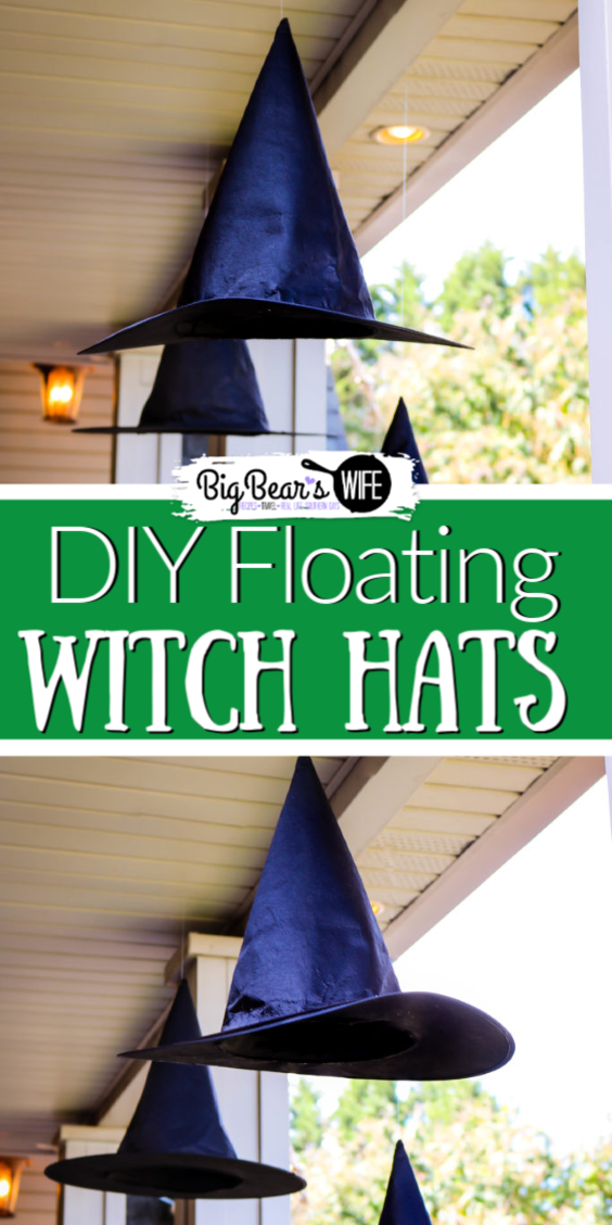 The Witches are IN and their hats are floating around outside! This easy and cheap DIY Halloween craft adds the perfect amount of magic to your Halloween decorations! I am in love with these Easy DIY Floating Witch Hats! #HALLOWEENDIY #HalloweenDecorations #CHEAPDIYDECOR via @bigbearswife