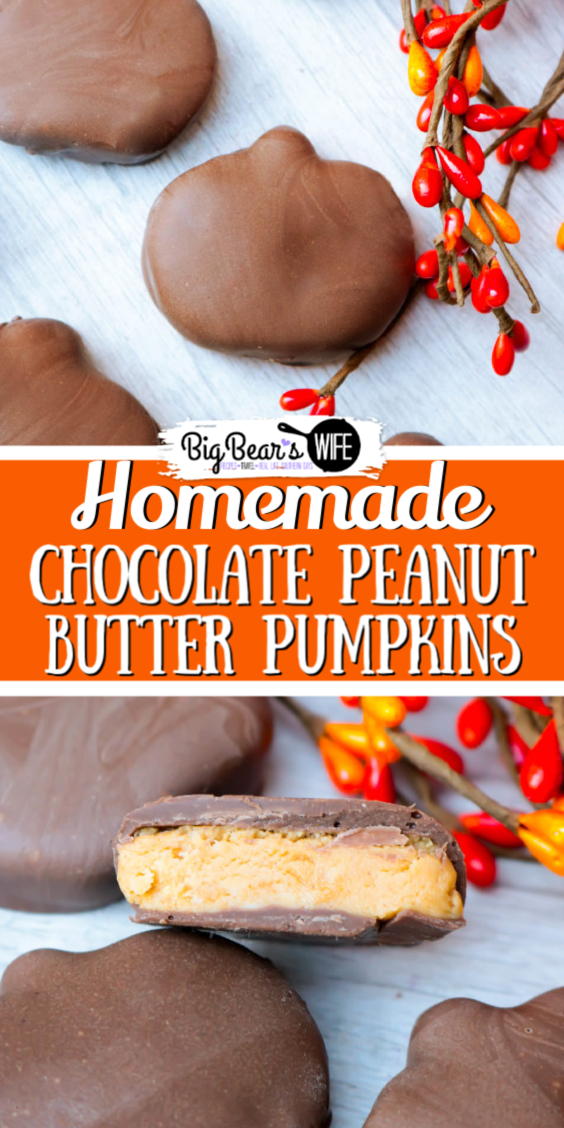 Who loves Chocolate Peanut Butter Pumpkins? WE DO! Want to have some for Halloween AND Thanksgiving? (Or maybe just all year? Here's how to makeHomemade Chocolate Peanut Butter Pumpkins...