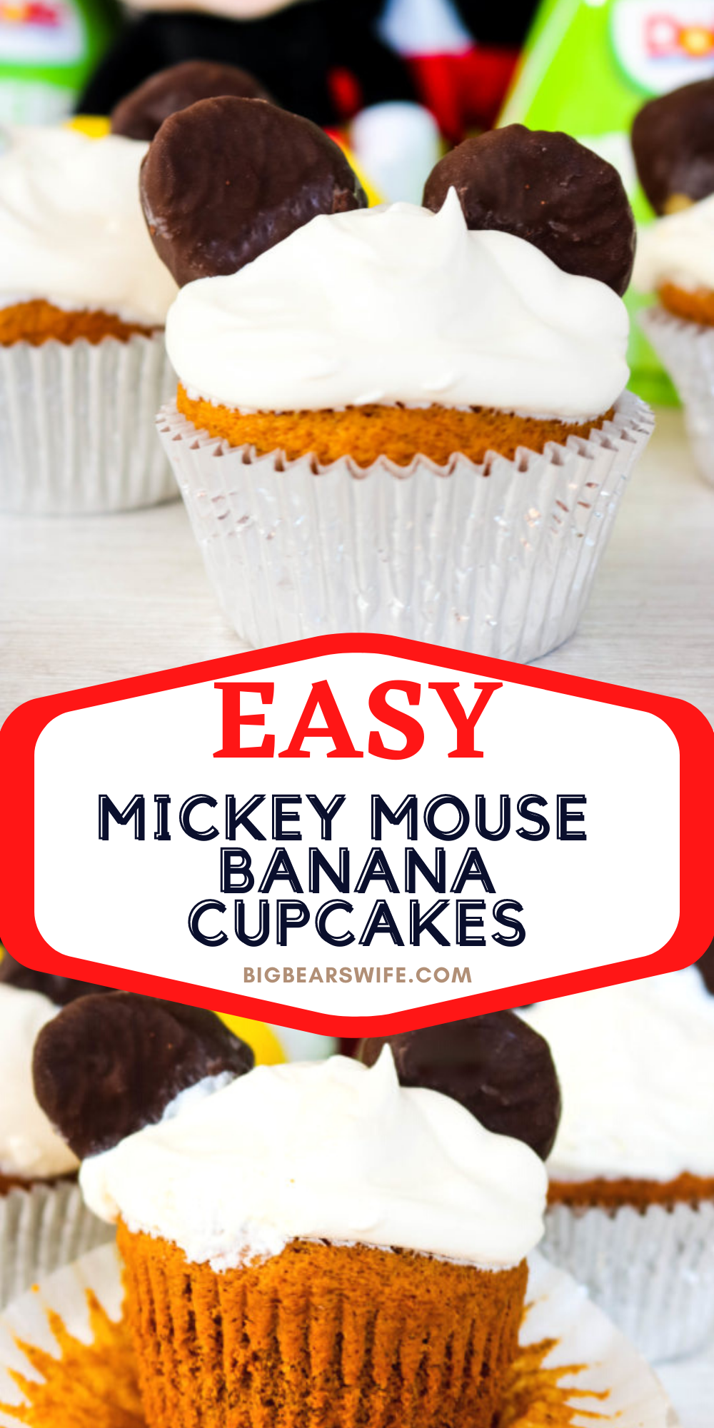 Mickey Mouse is turning90 and it's time to celebrate his birthday with theseMickey Mouse Birthday Banana Cupcakes #Mickey90 #MickeyTrueOriginal #Disney #Dole #DoleHero via @bigbearswife