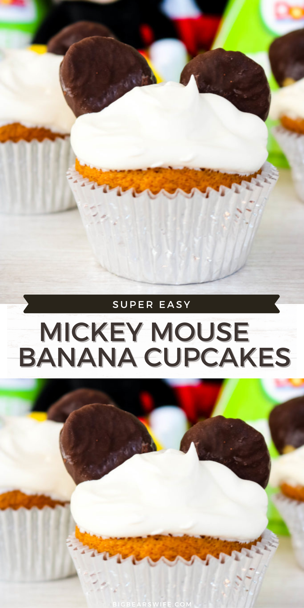 Mickey Mouse is turning 90 and it's time to celebrate his birthday with these Mickey Mouse Birthday Banana Cupcakes  #Mickey90 #MickeyTrueOriginal #Disney #Dole #DoleHero via @bigbearswife