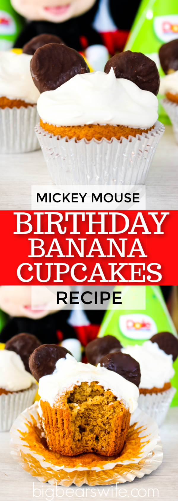 Mickey Mouse is turning 90 and it's time to celebrate his birthday with these Mickey Mouse Birthday Banana Cupcakes  #Mickey90 #MickeyTrueOriginal #Disney #Dole #DoleHero