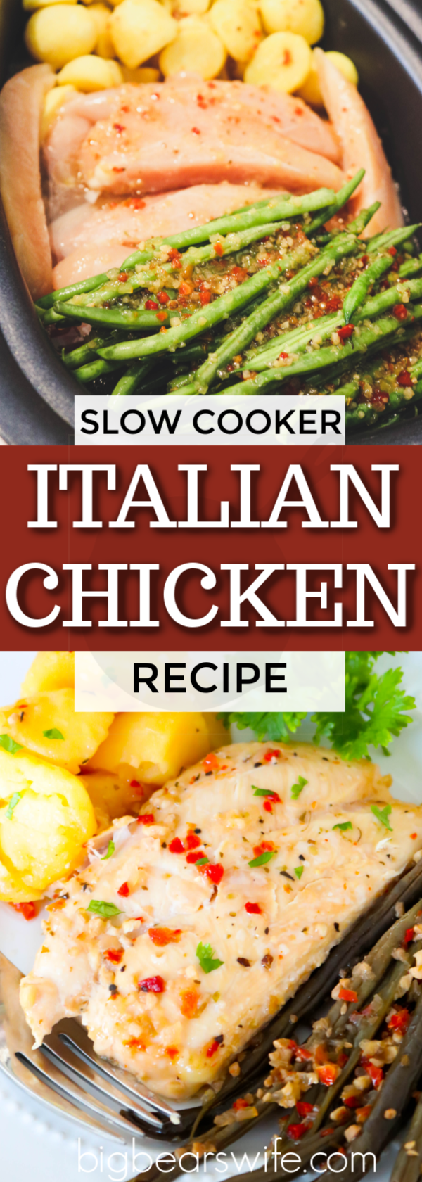 Drag that slow cooker out and make this Slow Cooker Italian Chicken, Potatoes and Green Beans for dinner with just a few ingredients and a bit of time in the slow cooker! #SlowCooker #ItalianChicken