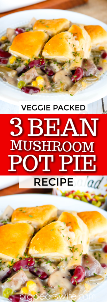 3 Bean Mushroom Pot Pie - This pot pie is packed with beans, mushrooms and some other tasty veggies! It's topped with biscuits and so hearty that you won't' even miss the meat in this 3 Bean Mushroom Pot Pie.