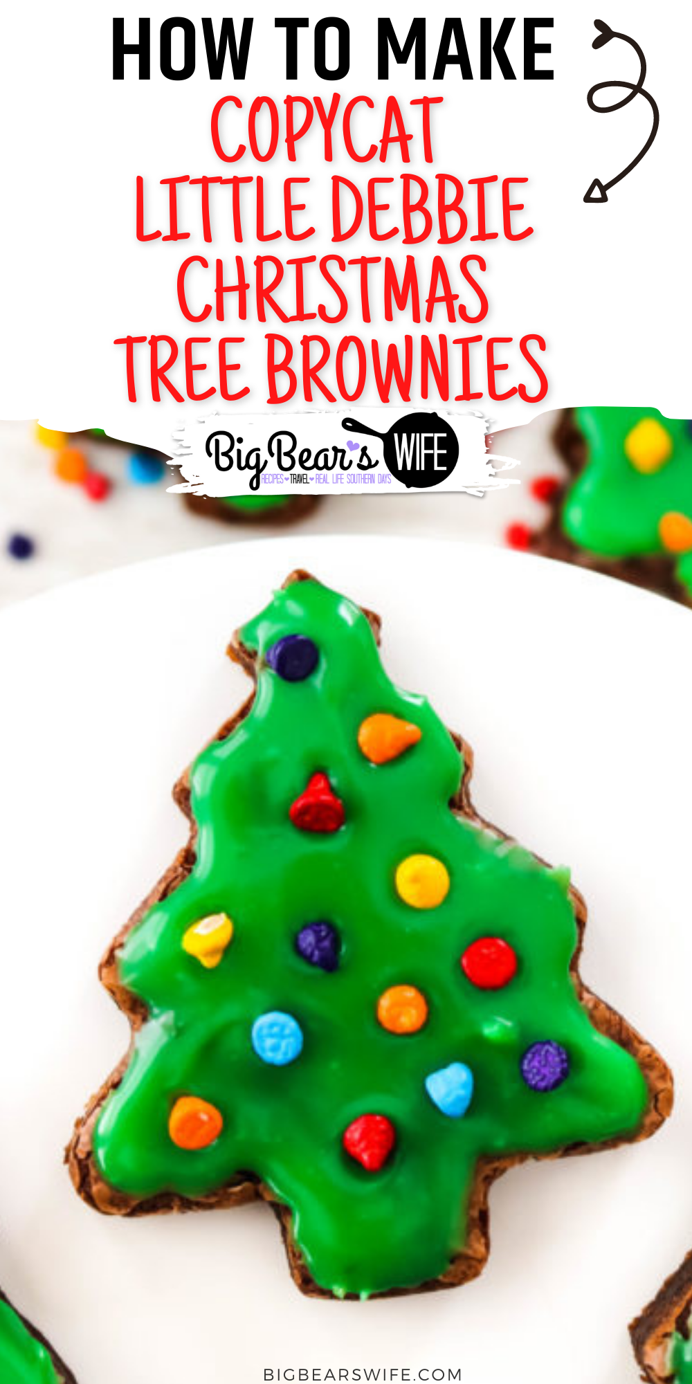 Little Debbie's Christmas Tree Brownies® are a nostalgic seasonal favorite. Jump in the kitchen and let's bake up some homemade brownie trees and decorate them with green ganache and candy-coated chocolate chips to create our very own Copycat Little Debbie Christmas Tree Brownies. via @bigbearswife