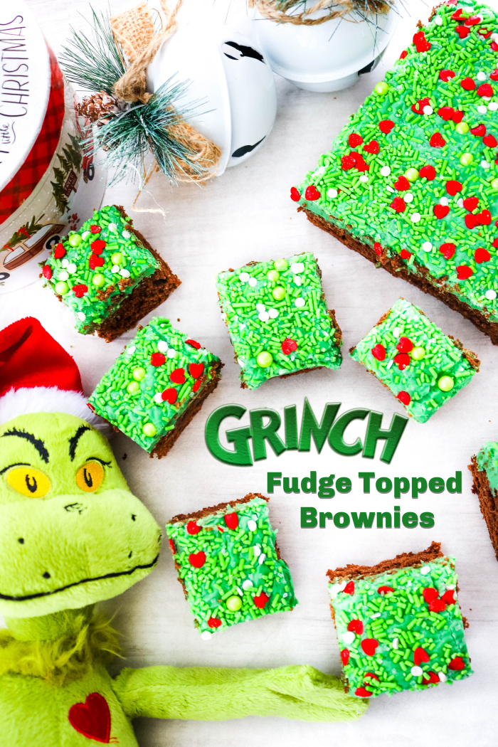 Grinch Fudge Topped Brownies