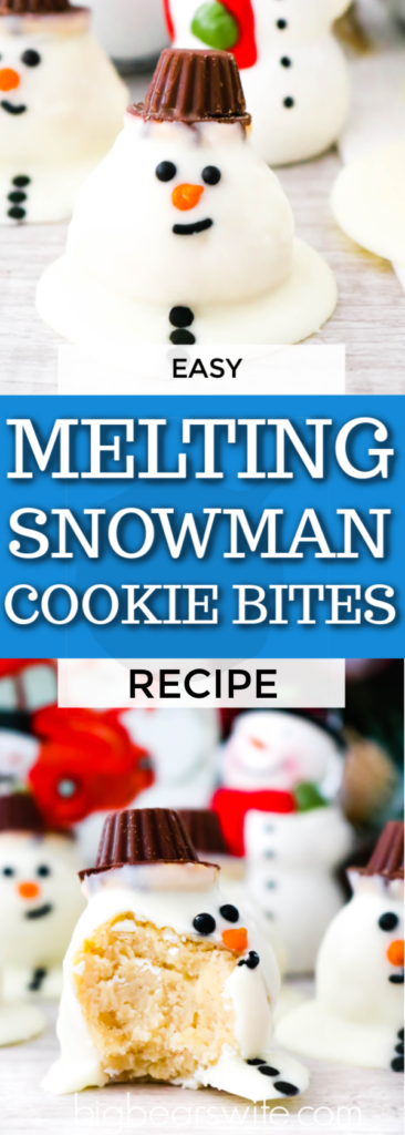 Melting Snowmen Cookie Bites - This adorable dessert is actually homemade snickerdoodles rolled into balls and coated with white chocolate to look like a cute melting snowman. Get the kids involved with this one. This easy recipe can be mastered by chefs of all ages. One part cookie, one part candy, and one part edible art! Melting Snowmen Cookie Bites are sure to be a hit at your holiday parties and winter get-togethers!