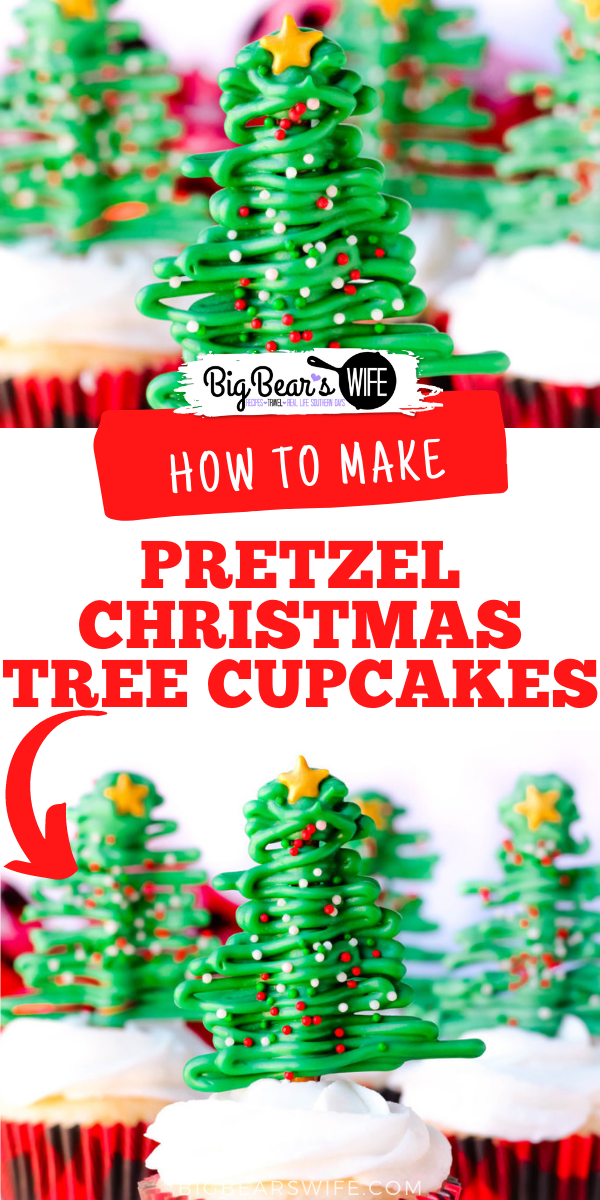 It's a sweet and salty Christmas treat that everyone will love. These Pretzel Christmas Tree Cupcakes are fun to make and fun to eat! via @bigbearswife
