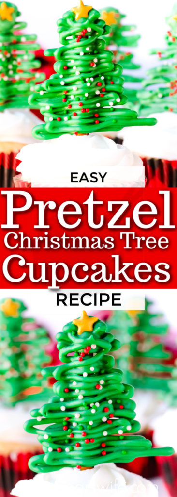 It's a sweet and salty Christmas treat that everyone will love. These Pretzel Christmas Tree Cupcakes are fun to make and fun to eat!
