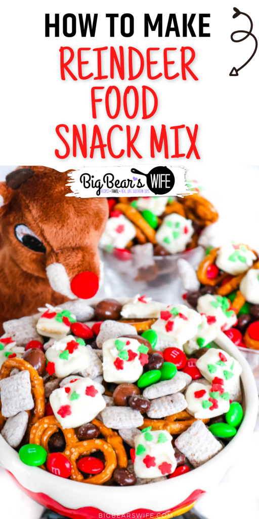 Reindeer Food Snack Mix is a festive trail mix with sweet and salty treats mixed together with homemade Reindeer Food bites!
