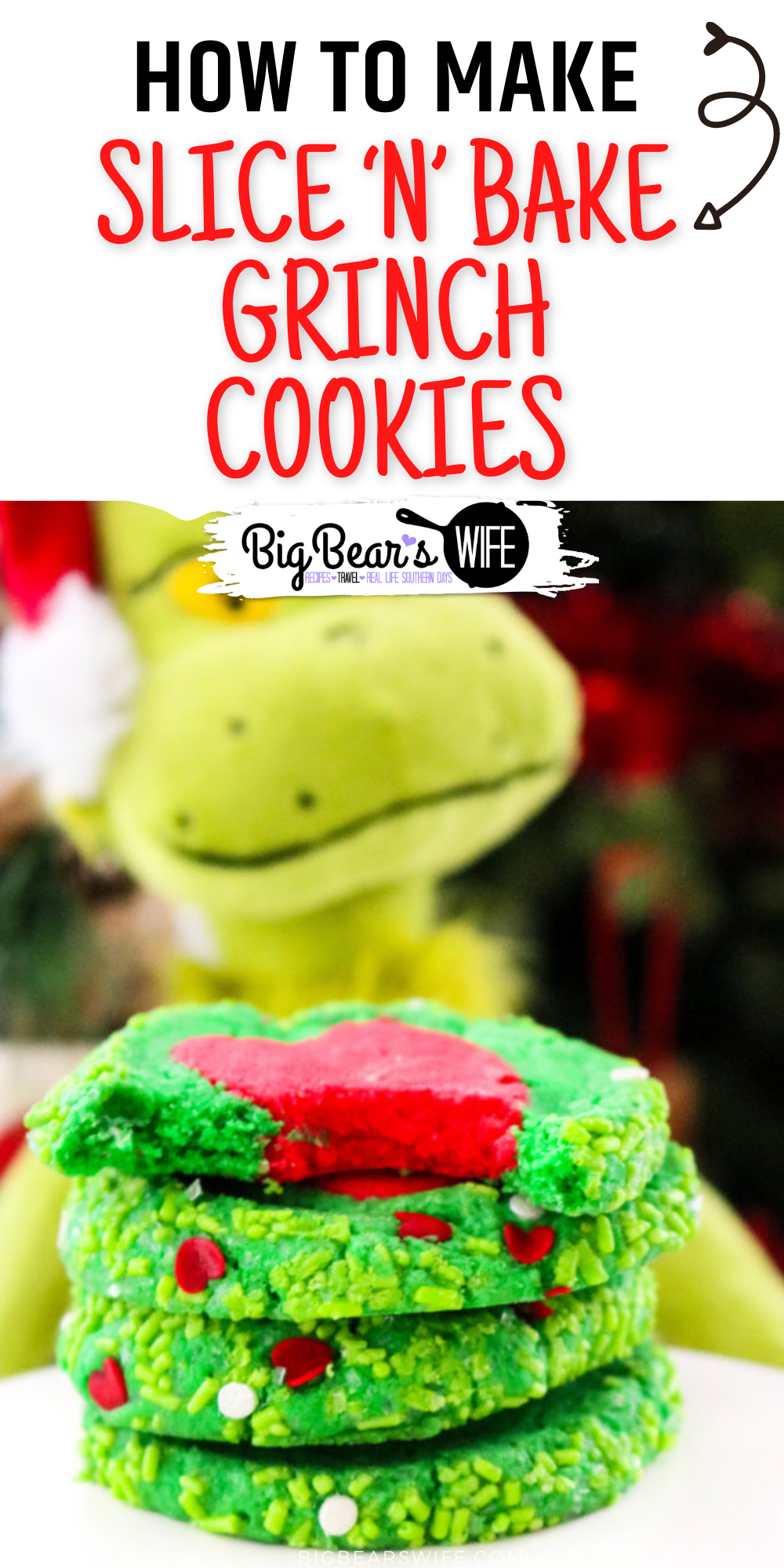 HomemadeSlice 'N' Bake Grinch Cookies are perfect for Christmas and might even make a sweet surprise for Santa! via @bigbearswife