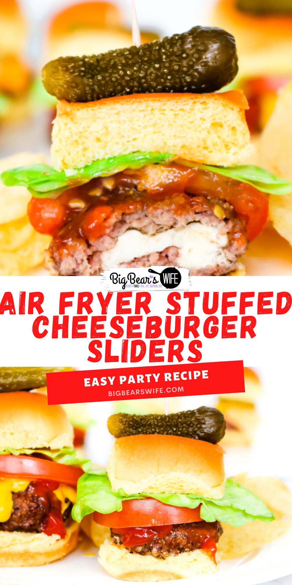 These sliders are stuffed with fresh mozzarella cheese, air-fried and topped with your favorite toppings to create the most amazing Stuffed Cheeseburger Sliders! These are perfect for game day parties or weeknight dinners.  via @bigbearswife