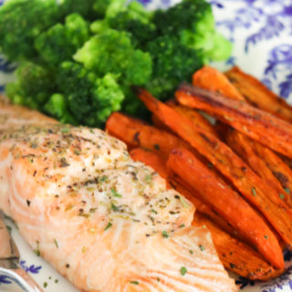 Baked Salmon and Carrot Sheet Pan Meal