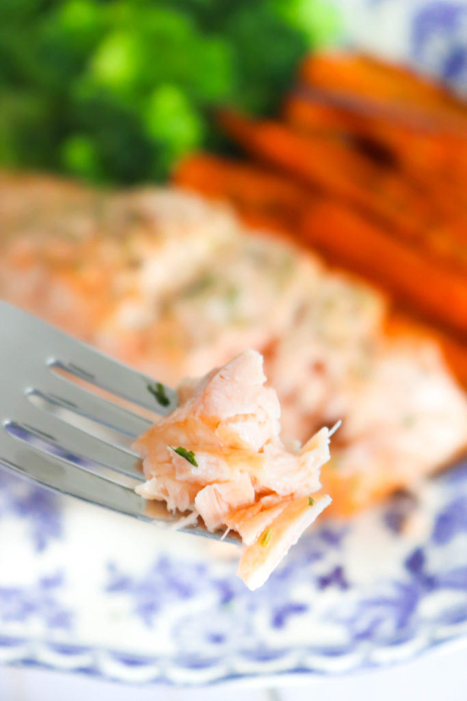 I bite of the Baked Salmon and Carrot Sheet Pan Meal