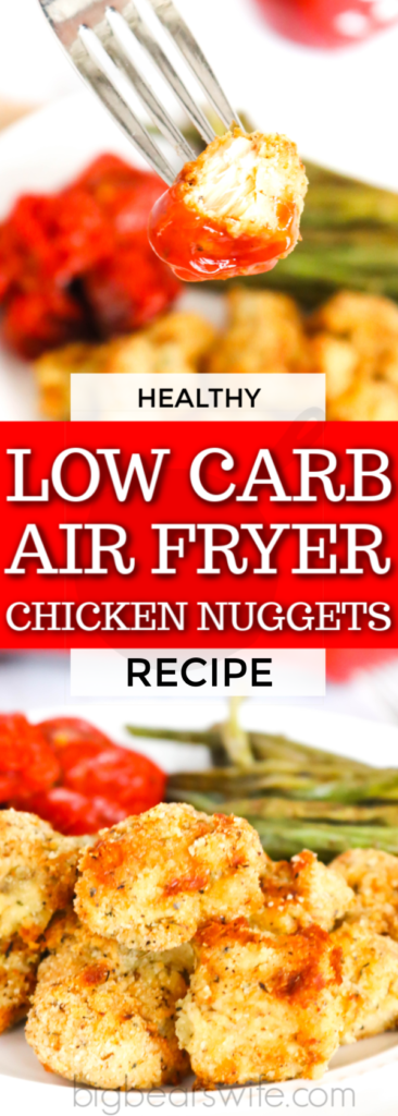 These tasty and Healthy Low Carb Air Fryer Chicken Nuggets are made with almond flour and seasonings to create an easy low carb lunch or dinner that's cooking in about 8 minutes! Great on their own or paired with your favorite dipping sauce.