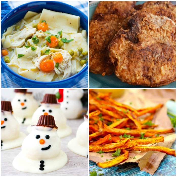 Instant Pot Chicken Pot Pie Soup, Southern Fried Pork Chops, Baked Sweet Potato Fries, Melting Snowman Cookie Bites