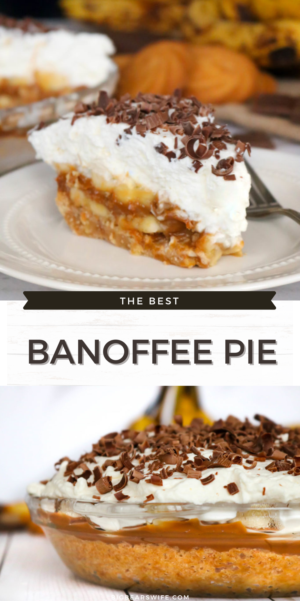 Banoffee Pie is a delicious dessert that combines a double layer of fresh, ripe bananas, dulce de leche and homemade whipped cream that is sure to make any banana and caramel lover go crazy! 