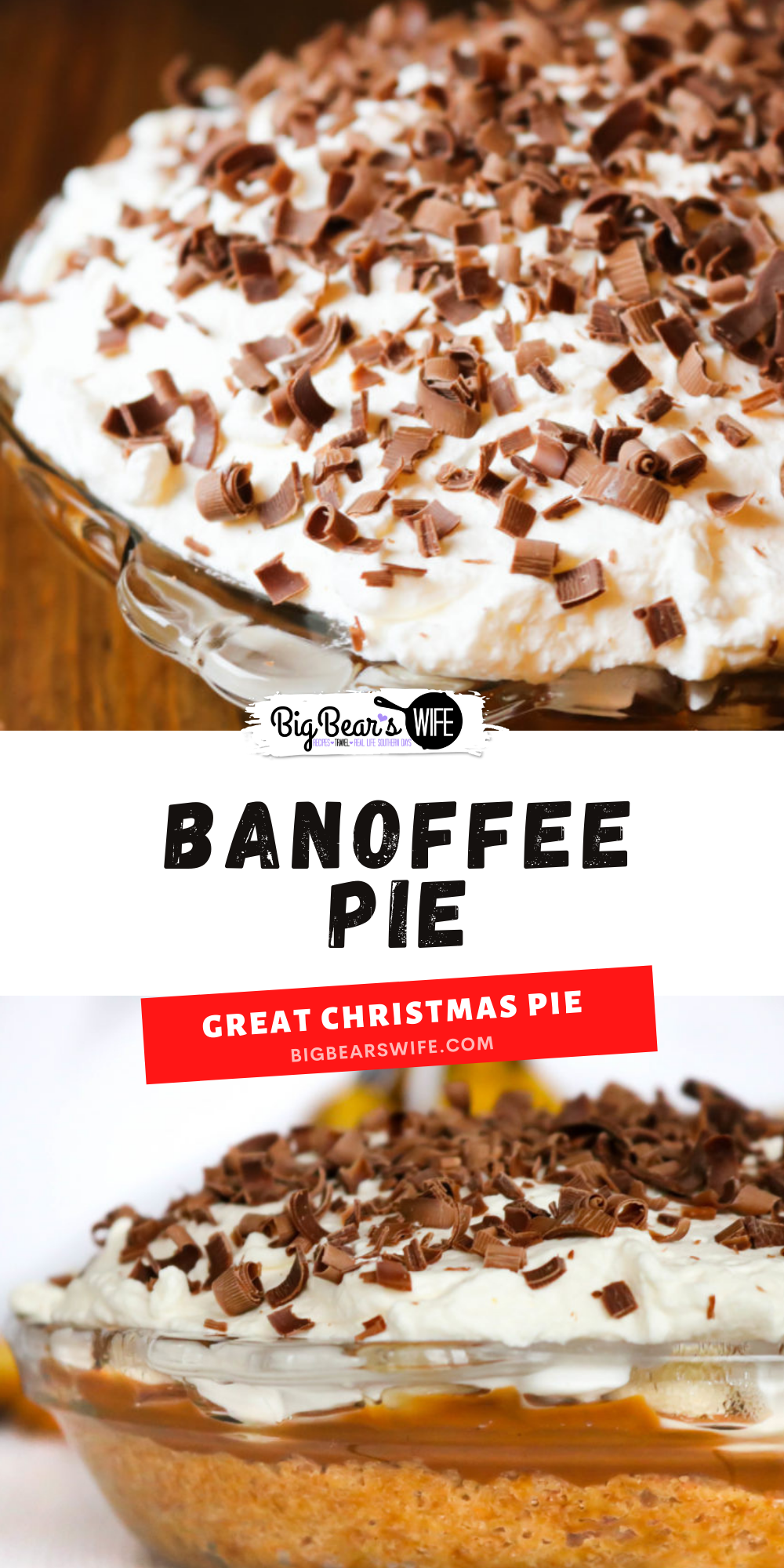 Banoffee Pie is a delicious dessert that combines a double layer of fresh, ripe bananas, dulce de leche and homemade whipped cream that is sure to make any banana and caramel lover go crazy!  via @bigbearswife