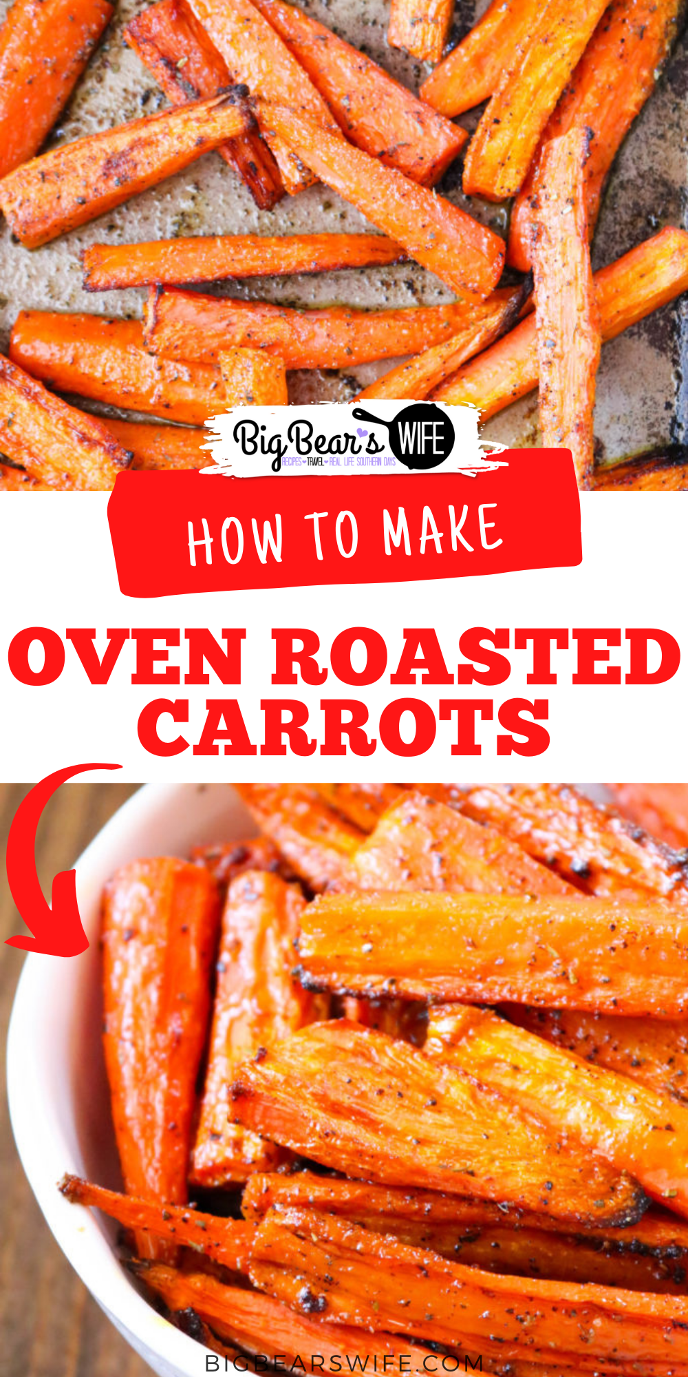 Oven Roasted Carrots make a great side dish that pairs perfect with almost any main course! These cooked carrots are oven roasted with a few seasonings and can be customized to use your favorites from the spice drawer! Ready in under 45 minutes and perfect for weeknights, weekends and meal prep!  via @bigbearswife