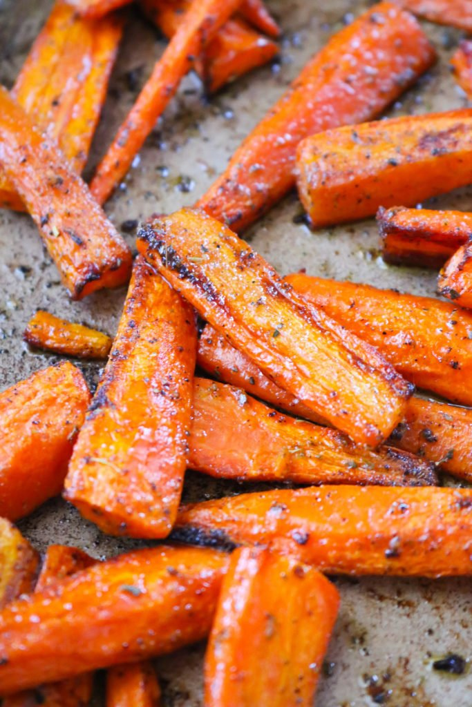 Close up of oven roasted carrots