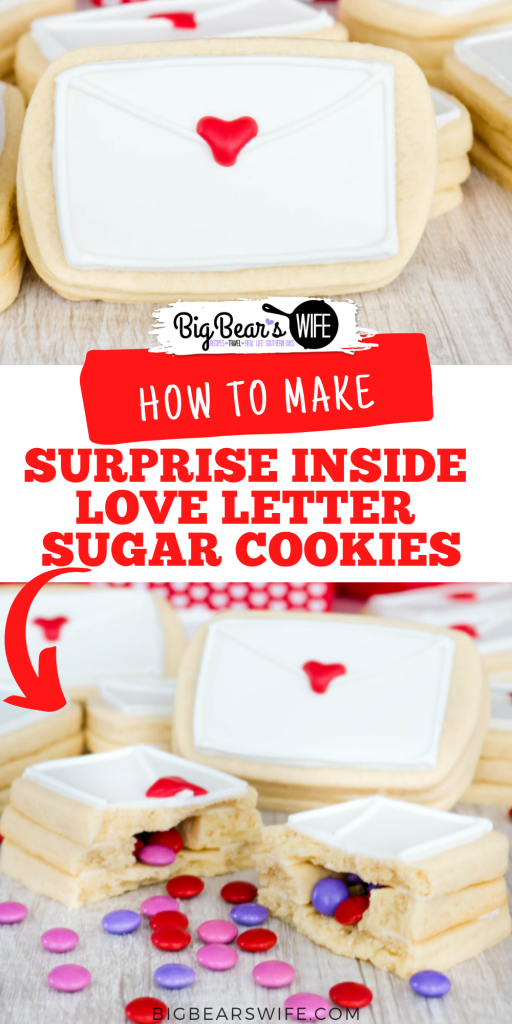 Don't give out the same ol' boring Valentines this year. Surprise your special someone with these Surprise Inside Love Letter Sugar Cookies. Soft sugar cookies are shaped like envelopes, stacked, and then filledwith a sweet chocolate candy surprise.