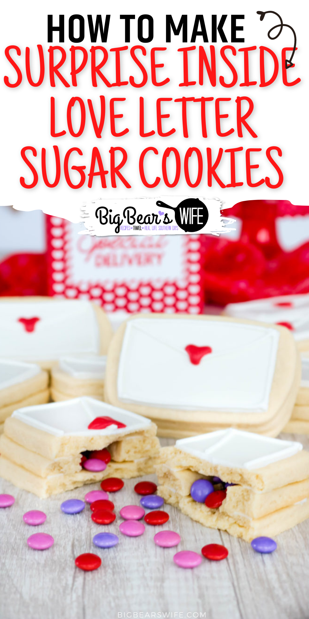 Don't give out the same ol' boring Valentines this year. Surprise your special someone with these Surprise Inside Love Letter Sugar Cookies. Soft sugar cookies are shaped like envelopes, stacked, and then filledwith a sweet chocolate candy surprise. via @bigbearswife