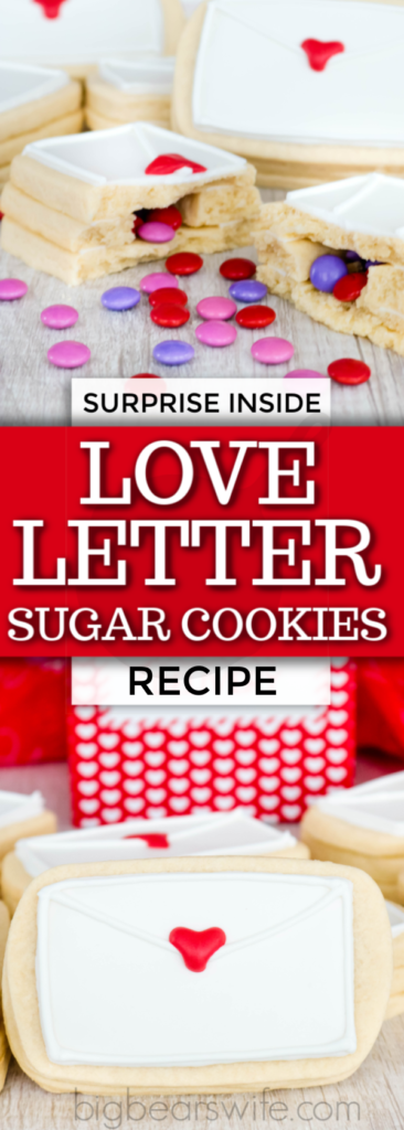 Surprise Inside Love Letter Sugar Cookies - Don't give out the same ol' boring Valentines this year. Surprise your special someone with these Surprise Inside Love Letter Sugar Cookies. Soft sugar cookies are shaped like envelopes, stacked, and then filled with a sweet chocolate candy surprise.