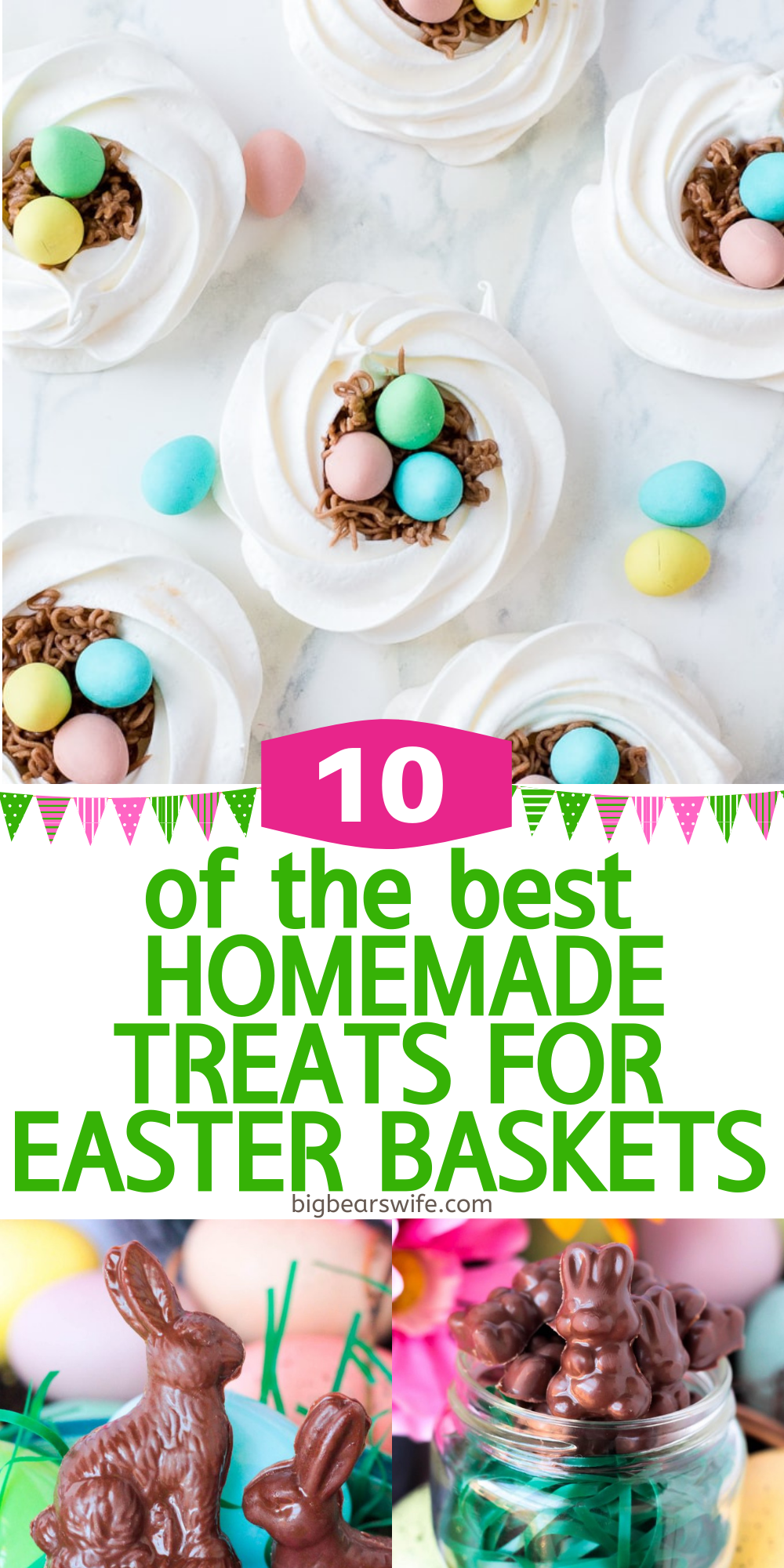 If you're filling Easter baskets for your kids or grandchildren this year or maybe just helping the Easter Bunny with some ideas, you'll love these Homemade Easter Basket treats! Sure, store bought Easter surprises are neat but homemade treats are even better! Fill your little one's Easter basket with 10 of the best Homemade Treats for Easter Baskets this year!    via @bigbearswife