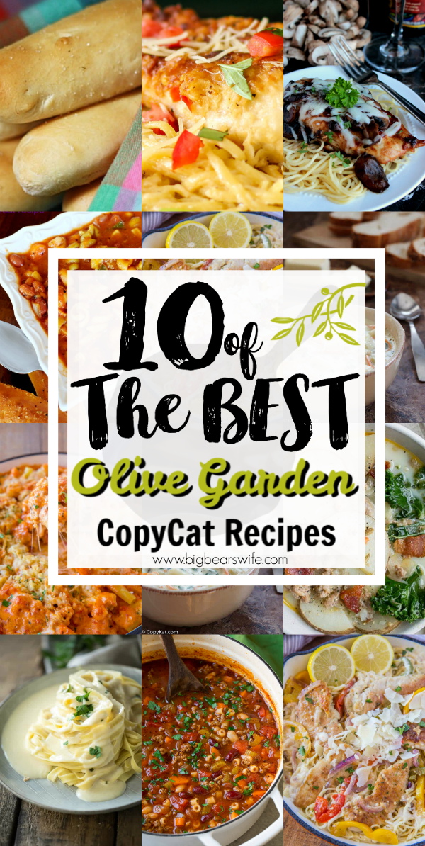 10 of the BEST Olive Garden Copy Cat Recipes - It took years for our city to get an Olive Garden and I spent a lot of those years trying to recreate some of my favorite Olive Garden dishes at home so that we didn't have to drive 2 hours to have our favorites. Now I've found even more copycat recipes for Olive Garden on some of my favorite blogs! Here are 10 of the BEST Olive Garden Copy Cat Recipes I've found!  via @bigbearswife