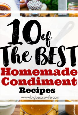 10 of the best Homemade Condiments - If you don't want to stock your fridge or pantry with store bought condiments or if you just want to experimentwith making your own at home this post is for you! I've found 10 of the best Homemade Condiments from some of the best bloggers out there.