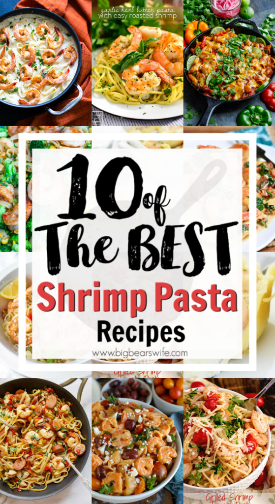 10 of the best Shrimp Pasta Recipes - Shrimp and pasta lovers unite! There is just something wonderfully comforting about a big bowl of shrimp pasta and I've gathered up 10 of the best Shrimp Pasta Recipes for you to try! There is shrimp Alfredo, butter shrimp, shrimp stuffed shells and more!