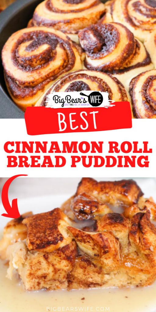 Create an indulgent treat by replacing traditional french bread with cinnamon rolls in this Cinnamon Roll Bread Pudding. Warm, gooey, cinnamon roll goodness is taken over the top with the addition of vanilla custard and a cinnamon infused glaze.